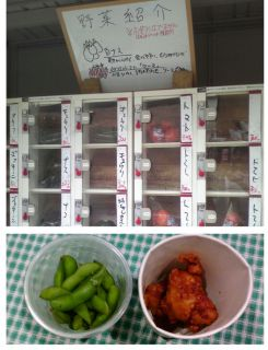 野菜自動販売機と夜店
